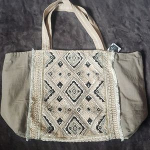 New! Lg Tote Bag Hobo Style Beaded Embroidery